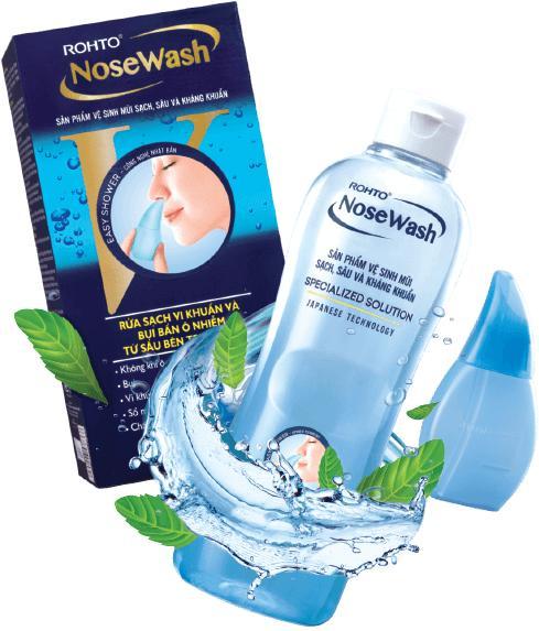 Bộ sản phẩm vệ sinh mũi Rohto NoseWash (1 bình vệ sinh mũi Easy Shower và 1 bình dung dịch 400ml) cao cấp