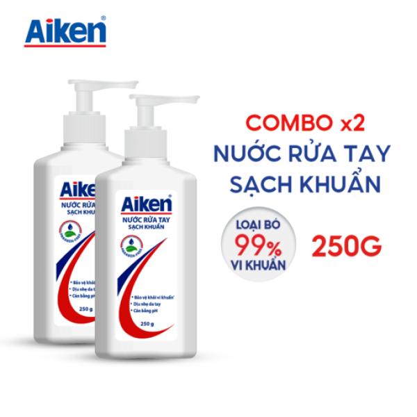 Aiken Combo 2 Nước rửa tay Sạch khuẩn 250G/chai