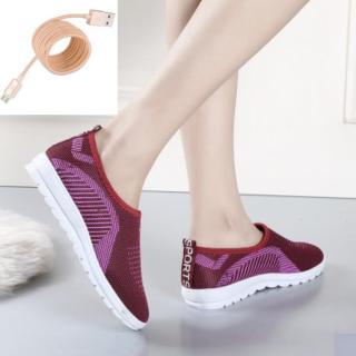 Giày Sneaker lười Nữ Mẫu Mới Siêu Hot SN-35341 + Tặng cáp sạc nhanh bọc dù dành cho máy samsung và nhiều loại cùng chui sạc thumbnail