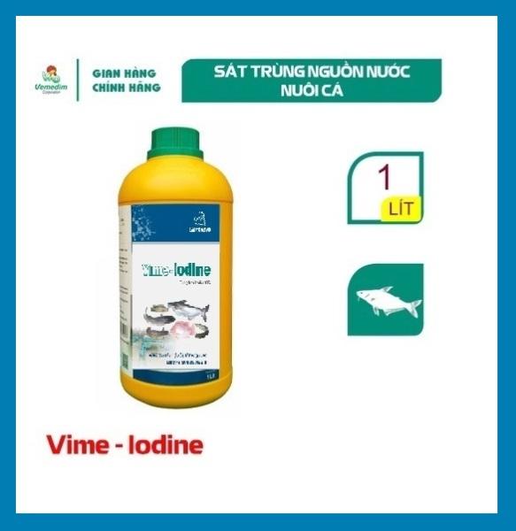 Vemedim Vime-iodine cá, dùng diệt khuẩn ao nuôi và sát trùng dụng cụ nuôi cá, chai 1lit