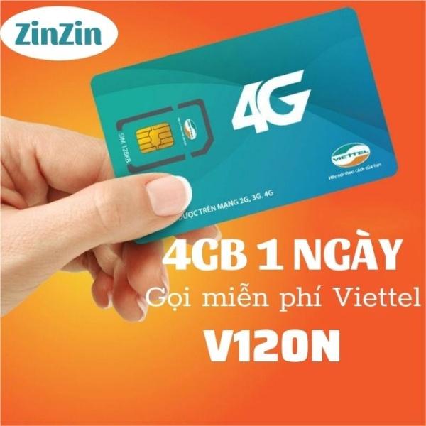 SIM V120 4G VIETTEL 4Gb/ngày+gọi miễn phí nội mạng+ngoại mạng, dùng cho điện thoại di động,máy tính bảng,phát wifi,camera,dcom,đồng hồ thông minh,dùng toàn quốc