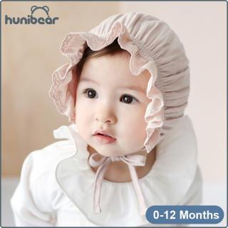 Mũ công chúa Hunibear vải cotton nguyên chất mềm mại và thoải mái thời trang xuân hè cho bé gái 0-12 tháng tuổi - INTL
