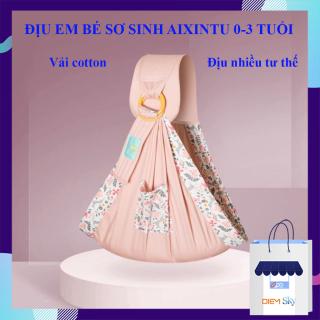 Địu em bé sơ sinh Aixintu vải cotton mềm mại, thoáng khí, chắc chắn, nhiều tư thế phù hợp cho bé từ 0 - 3 tuổi, đai địu em bé thumbnail
