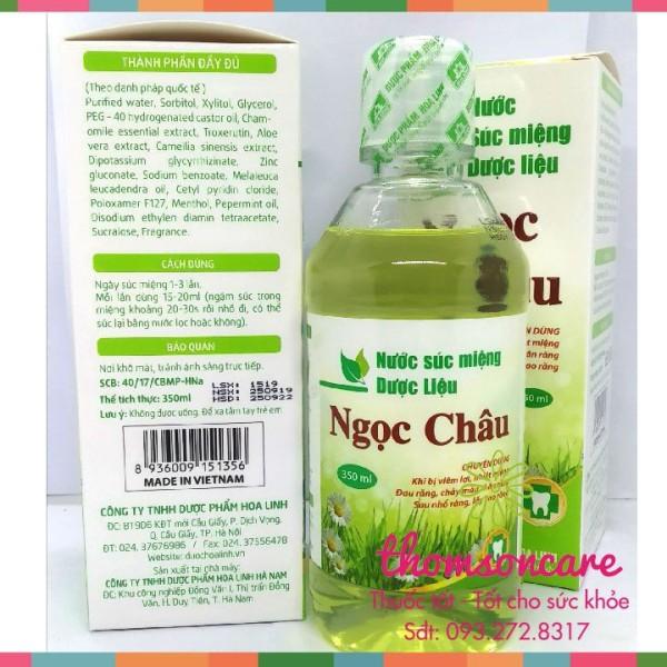 Nước súc miệng dược liệu Ngọc Châu - Ngăn ngừa viêm lợi - Nhiệt miệng - Chai 350ml của dược Hoa Linh, xúc giảm hôi miệng, hơi thở thơm tho từ bạc ha, trà xanh