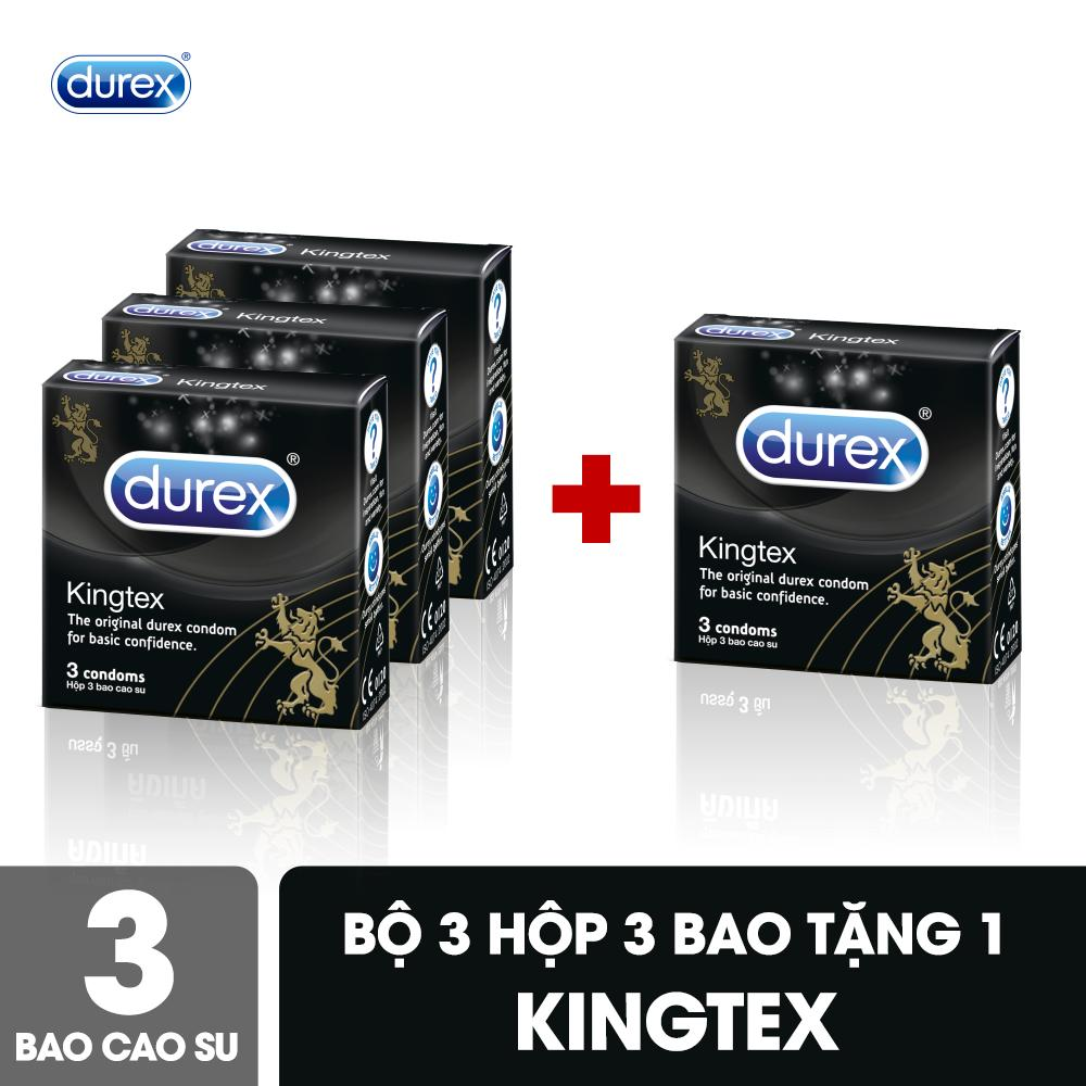 Bộ Bao Cao Su Durex Kingtex hộp 3 bao - Mua 3 tặng 1