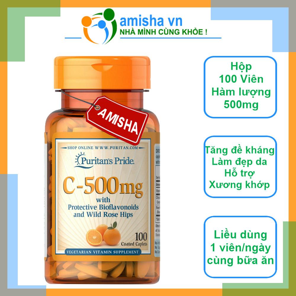 Viên Uống Bổ Sung Vitamin C 500-1000mg Puritan's Pride Mỹ 100 Viên ( With Bioflavonoids & Wild Rose Hips)