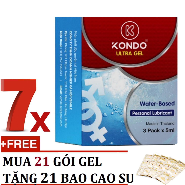 Hộp 21 Gói gel bôi trơn cao cấp nhập khẩu Thái Lan KONDO PLUS tặng 21 chiếc bao cao su gia đình - AdamZone nhập khẩu