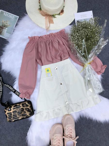 Set áo bẹt vai và chân váy thời trang nữ KA04 (Có size to)