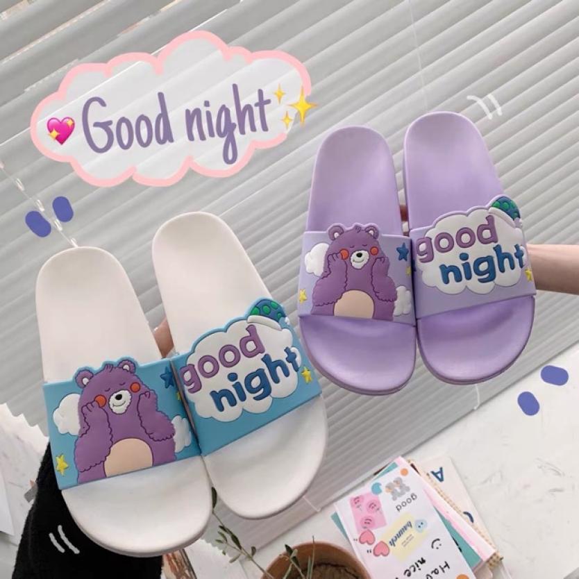 Dép nữ dép lê nữ dép quai ngang nữ hinh gấu Good Night giá rẻ