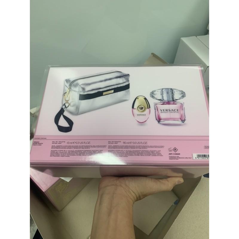 Bộ set nước hoa nữ Versace bright crystal (gồm 3 món như hình Versace Bright 90ml + 10ml+ 1 túi thời trang nữ)