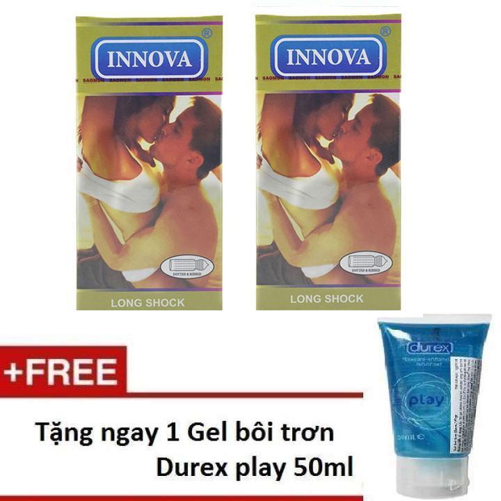 Bộ 2 hộp bao cao su INNOVA vàng siêu gân gai tặng 1 gel bôi trơn PLAY 50ml