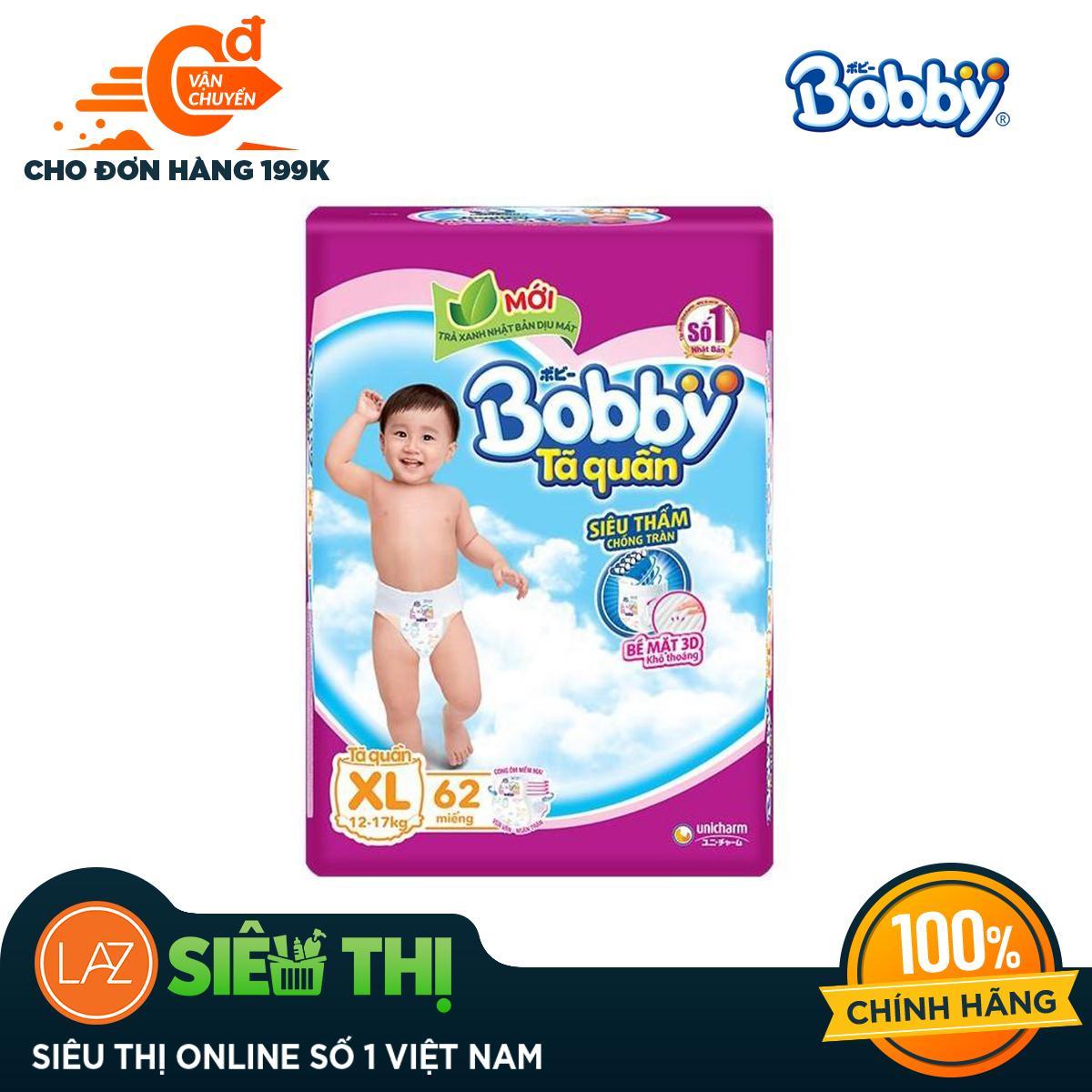 [Siêu thị Lazada] - Tã quần Bobby size XL gói siêu lớn 62 miếng (12-17 kg) (hương trà xanh)
