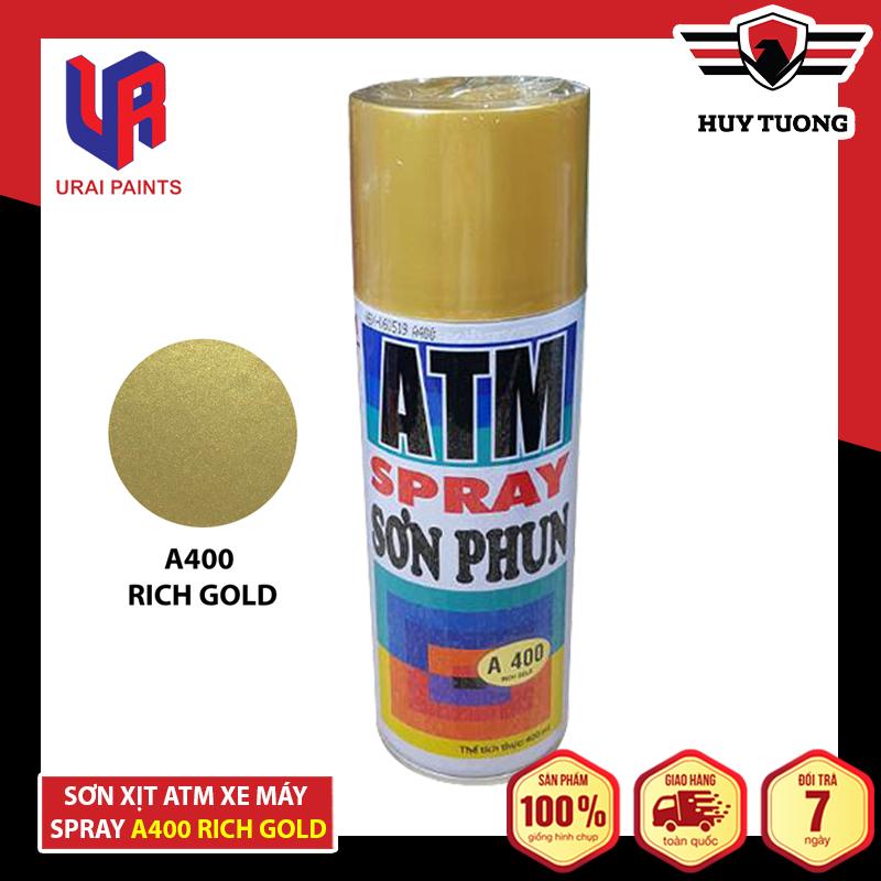 Sơn xịt ATM cho xe máy Spray A400 Rich Gold ( Vàng đồng ) - Huy Tưởng