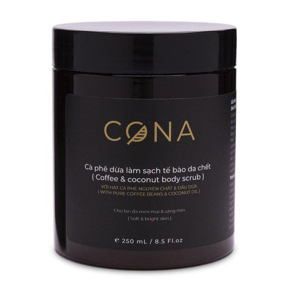 Cà phê dừa làm sạch da chết cơ thể CONA 250ml từ cà phê Tây Nguyên & Dầu dừa Bến Tre giúp làm sạch da chết cơ thể và cấp ẩm cho da giúp da sáng mịn đều màu
