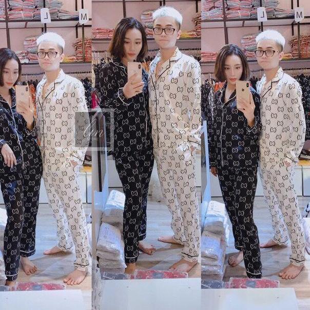 [ Dang Lan Fashion] Bộ Quần áo Dài Tay Nam Nữ- Bộ Pijama ,bộ đồ Ngủ Nam Nữ Sang Chảnh Chất Liệu Kate Thái Cao Cấp.%%% Với Giá Sốc