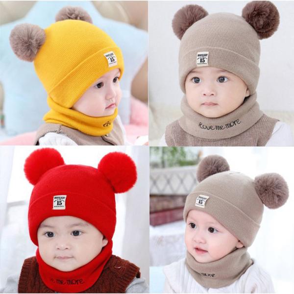 Mũ len trẻ em 2 cục bông kèm khăn quàng cổ mịn màng ấm áp cho bé dưới 3 tuổi