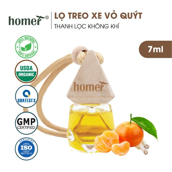 Tinh dầu treo HOMER Vỏ quýt 7ml - Khử mùi, kháng khuẩn trong không khí - Treo tủ, treo xe ô tô, treo phòng