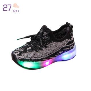 Giày Thể Thao Trẻ Em 27 Giày Đế Mềm Thoáng Khí Dệt Vải Lưới Cho Bé Trai, Giày LED Đơn Giản