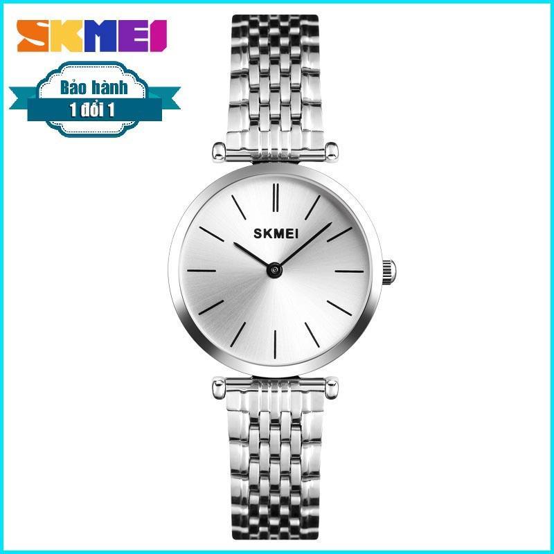 Đồng hồ nữ dây thép không gỉ chống nước (Bạc) SKMEI 1458 bán chạy