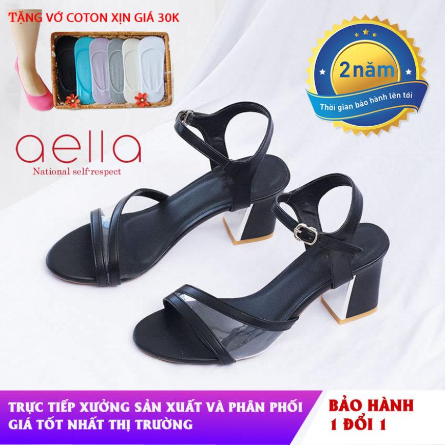 Giày nữ ,giày sandal cao gót aella ae002 - Quai phối meka sắc sảo ,tinh tế - Giày sandal nữ cao gót đế vuông, giày sandal 5cm giá rẻ