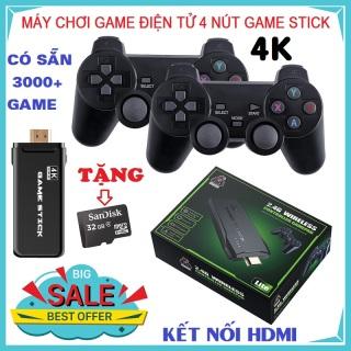 Máy Chơi Game Điện Tử 4 Nút Game Stick HDMI 3000+ 10000+ Trò Chơi, Kết nối HDMI, 4K kết nối với ti vi, máy tính Tặng kèm thẻ nhớ TF 32Gb - Bảo hành 12 tháng thumbnail