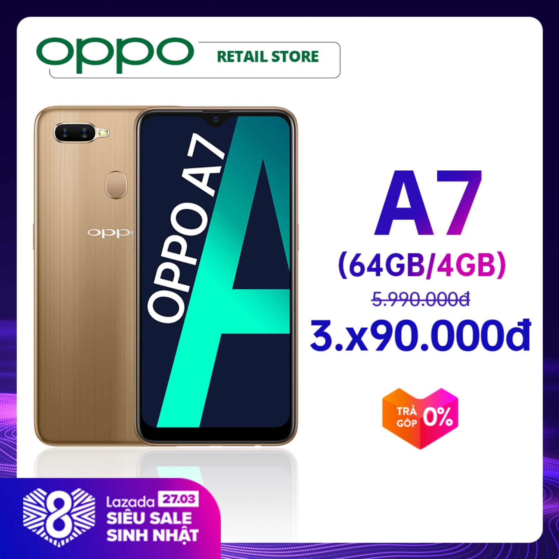 TRẢ GÓP 0% Điện thoại Oppo A7 (4GB/64GB) - Hàng chính hãng - Màn hình rộng 6.2'' Camera sau kép 13MP+2MP Camera trước 16MP Snapdragon 450 8 nhân 2 Nano SIM Pin lớn 4230mAh