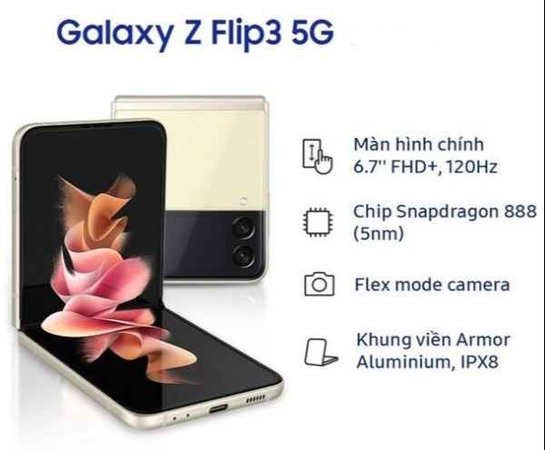 Điện thoại Samsung Galaxy Z FLIP3 5G (8GB/128GB) - Hàng Chính Hãng - Bảo hành 12 tháng
