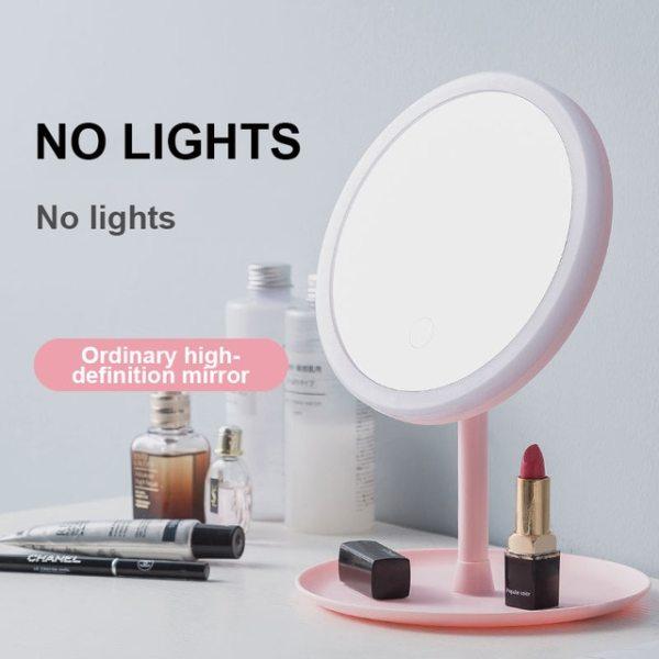 Hộp Đựng Gương Trang Điểm Đèn Led Gương Mặt LED, Điều Chỉnh Độ Sáng Cảm Ứng, Gương Trang Điểm Led USB Gương Mỹ Phẩm Để Bàn
