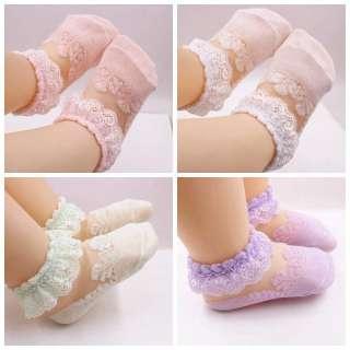 Lô 04 đôi vớ ren hoa mùa hè vải cotton mềm cho bé gái mới biết đi 3 kiểu dáng khác nhau để lựa chọn - I Love Daddy & Mummy - INTL