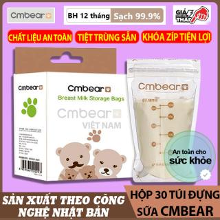 Hộp 30 Túi Đựng Sữa CMBEAR - Túi Trữ Sữa Mẹ 250Ml - Hình Con Gấu An Toàn Không Bpa, Chắc Chắn, 2 Khóa Ziper Chống Rò - CMB06 thumbnail