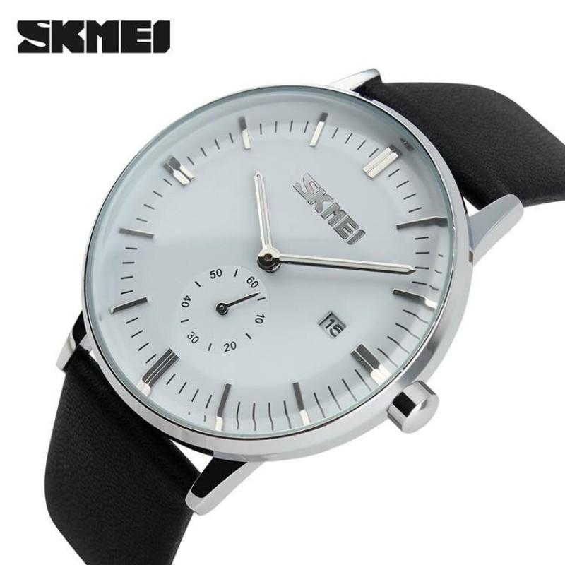 Đồng hồ nam dây da SKMEI thời thượng có lịch, chất liệu vỏ thép không gỉ cao cấp, đa dạng sản phẩm, cam kết hàng như hình