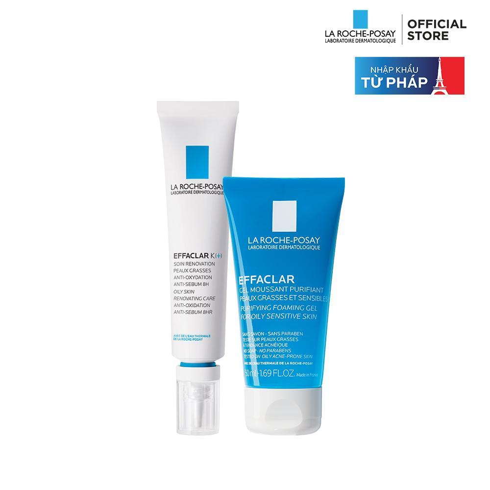 Bộ đôi kem dưỡng giúp giảm mụn đầu đen, giảm bóng nhờn La Roche-Posay Effaclar K+ 40ml và Gel rửa mặt dành cho da dầu mụn Effaclar Gel 50ml tốt nhất
