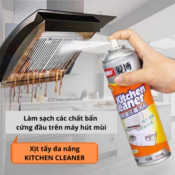 [Có Video] Bình xịt vệ sinh bếp bọt tuyết đa năng Kitchen Clear 500ml (vàng) BH778