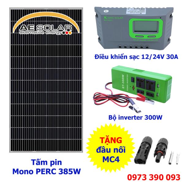 COMBO tấm pin năng lượng mặt trời AE Mono PERC 385W + ổ cắm biến tần 12V/24V + Bộ điều khiển sạc 12V/24V 30A TẶNG Jack MC4