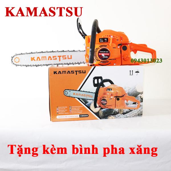 máy cưa gỗ, máy cưa xích chạy xăng KAMASTSU lam 5 tấc trọng lượng 6.5kg động cơ 2 thì 68cc