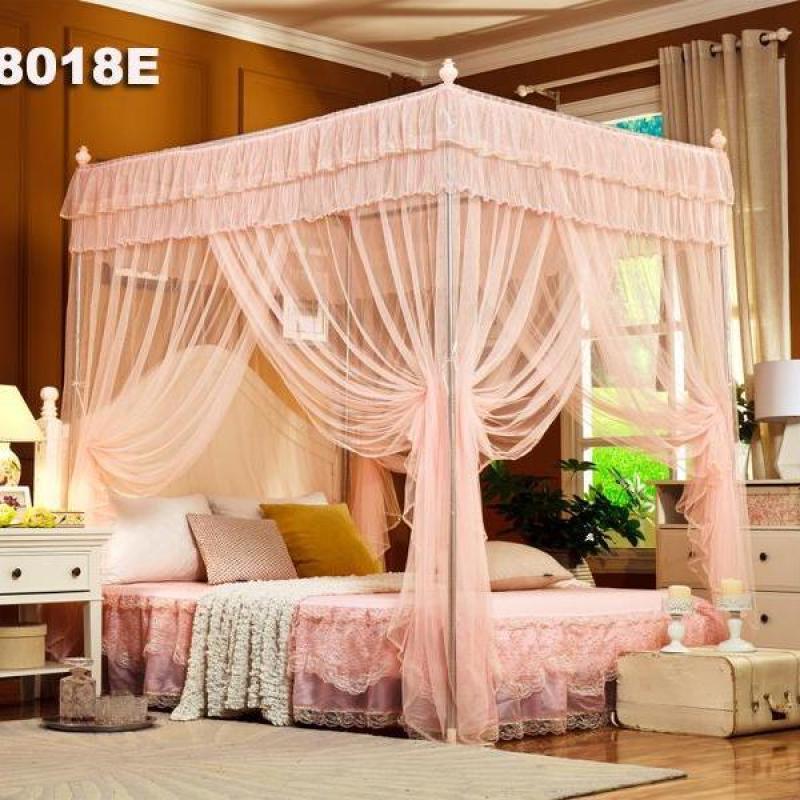 Mùng (màn) khung cao cấp không khoan tường / khung inox không gỉ / vải tuyn mắt nhỏ,chống muỗi / chống côn trùng ,3 cửa tiện lợi [ kích thước  2*2.2 m ]  (gồm màn +khung ) trang trí phòng ngủ / màn cưới EASY DREAM