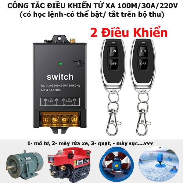 Bảng giá [MẪU MỚI 2021 2 ĐIỀU KHIỂN] Công tắc điều khiển từ xa không dây 100m công suất 30A 220V