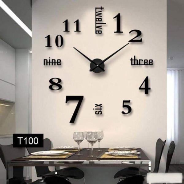 Đồng hồ treo tường 3D tặng máy đồng hồ kim trôi, loại dán tường cỡ lớn, kích thước 70cm-120cm bán chạy