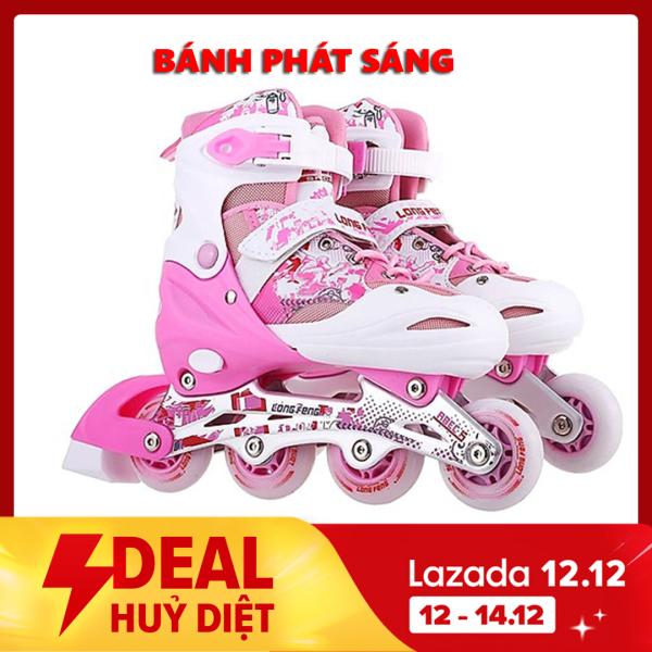 Giá bán Giày Patin trẻ em  inline Long Feng 906 - CHÍNH HÃNG - giày trượt patin người lớn , trẻ em đủ size S M L màu hồng