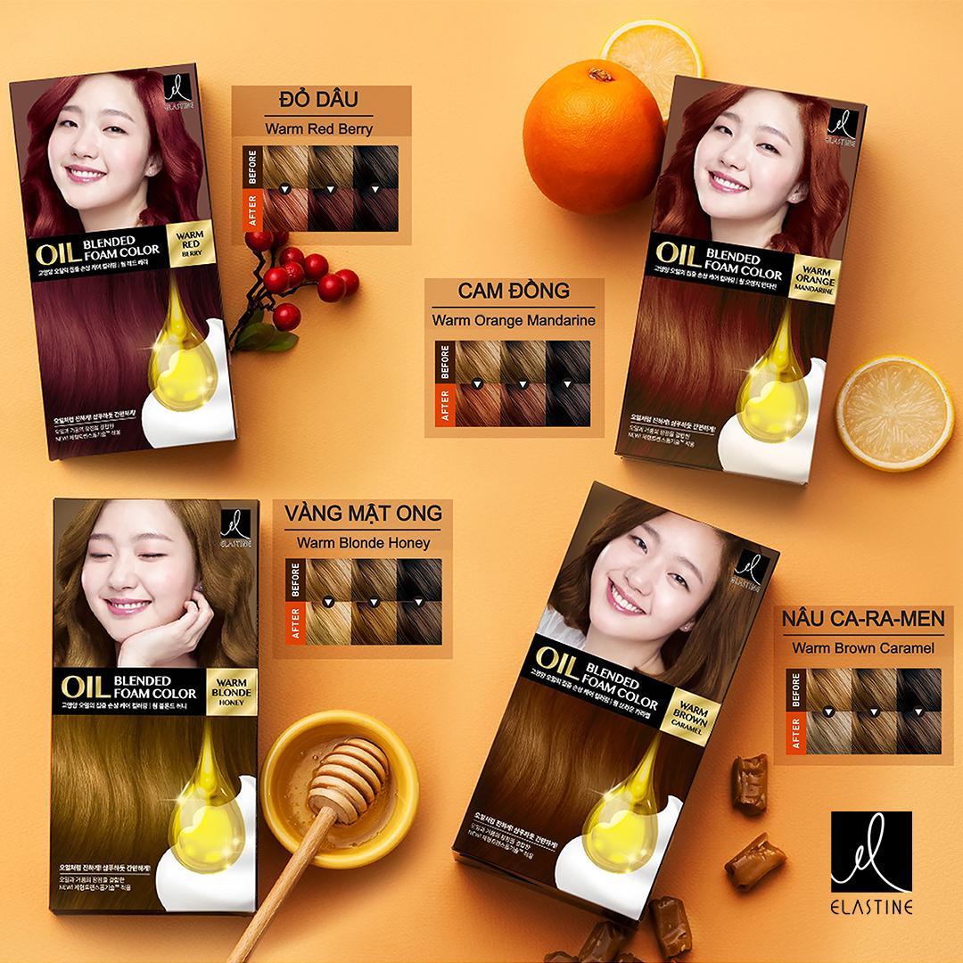 Kết quả hình ảnh cho Kem Nhuộm Elastine Oil Blended Warm Orange Mandarine