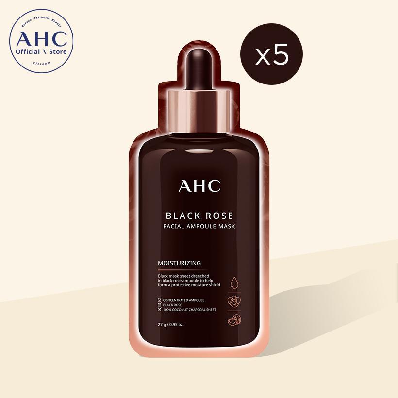 Mặt nạ AHC Black Rose Facial Ampoule Mask 27g x 5 miếng (New BI)