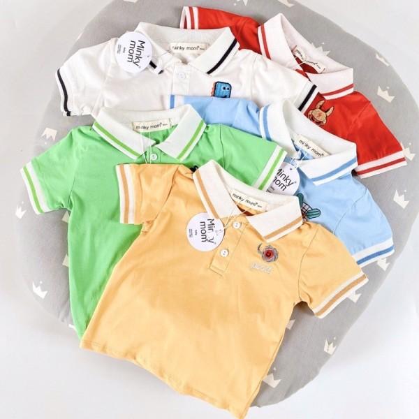 Giá bán Áo Phông Cộc Tay Cổ Trụ Minky Mom Thêu Họa Tiết Động Vật Cho Bé Từ 7-19Kg