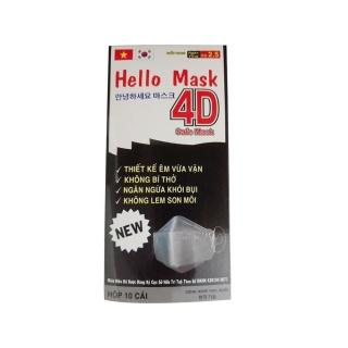 Khẩu trang kháng khuẩn 4D Hello Mask chống virus cao cấp - Hộp 10 cái - Xám thumbnail