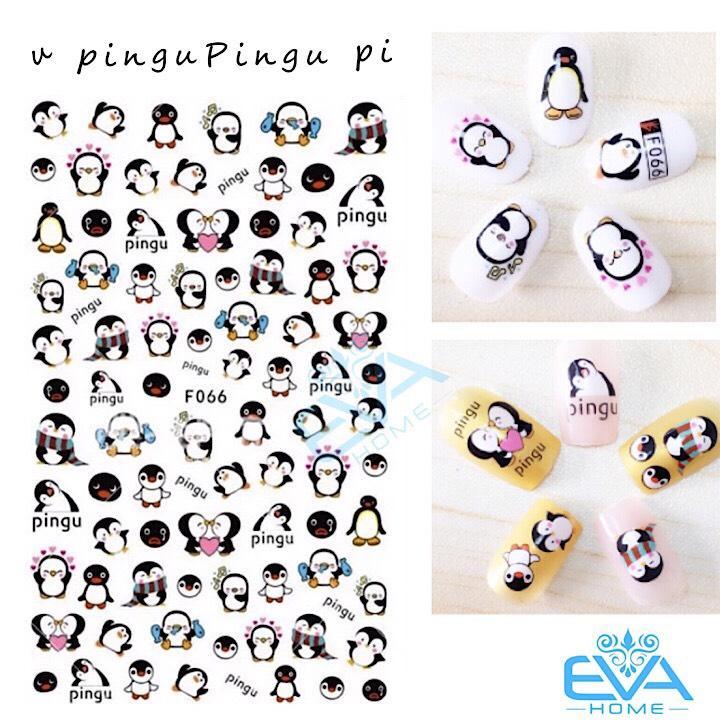 Miếng Dán Móng Tay 3D Nail Sticker Hoạt Hình Chim Cánh Cụt Pingu F066 tốt nhất