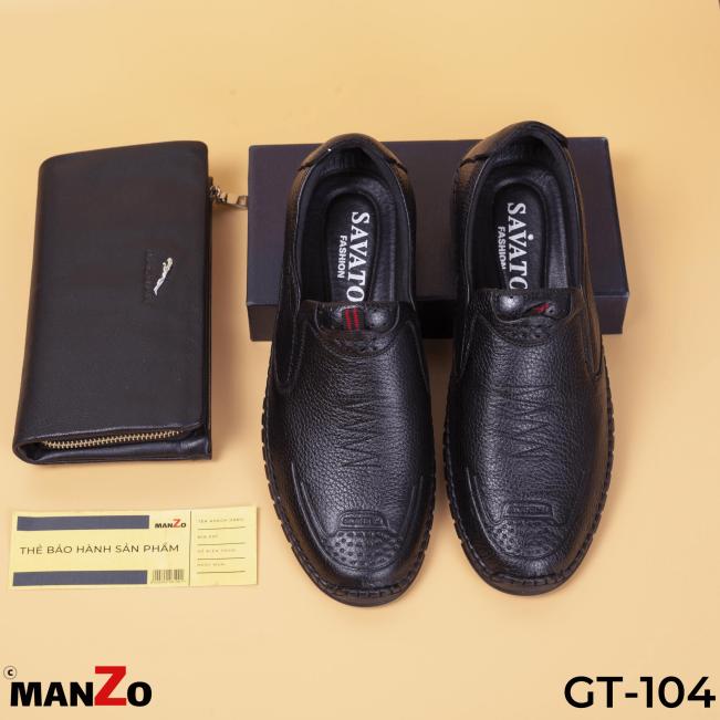 GIÀY TÂY NAM GIÁ RẺ - GIÀY NAM DA BÒ BẢO HÀNH 12 THÁNG - GT104 DEN MANZO giá rẻ