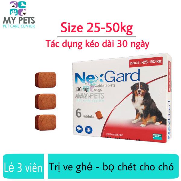 NEXGARD viên nhai ve ghẻ, bọ chét cho chó - Lẻ 3 viên (size 25-50kg. no box)