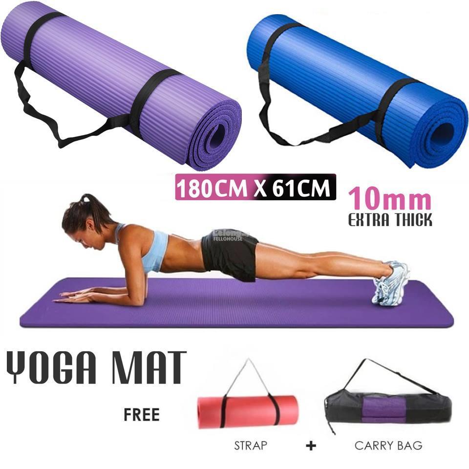 Thảm Tập Gym, Yoga TPE 10mm Cao Cấp Loại 1 Tặng Túi Xịn + Dây Buộc Thảm Giá Quá Ưu Đãi