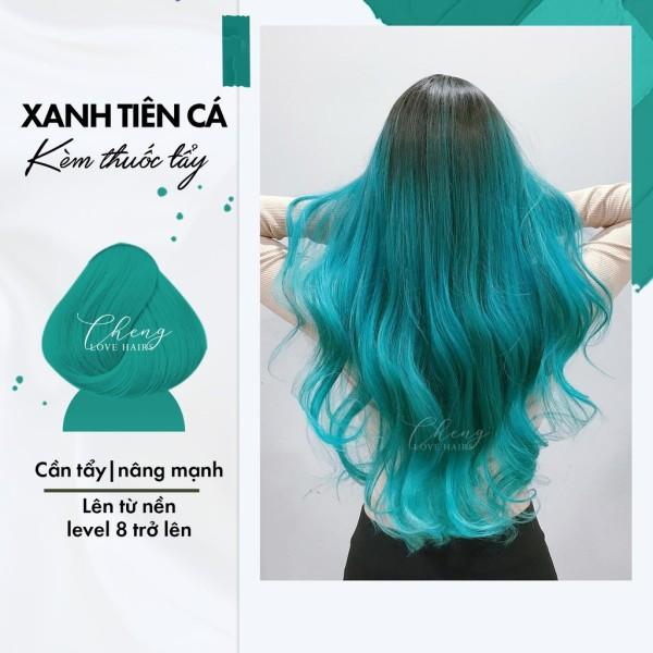 (KÈM TẨY) Nhuộm tóc màu XANH TIÊN CÁ Chenglovehair, Chenglovehairs