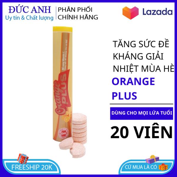 Tuýp Viên Sủi Orange Plus - Hương Cam - Mỗi Tuýp là 20 viên - Sủi Orange Plus - Combo 10 sủi Orange Plus
