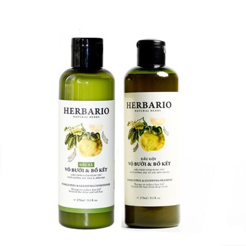 Combo DẦU GỘI và DẦU XẢ vỏ bưởi và bồ kết Herbario 270ml x 2 giúp chăm sóc tóc